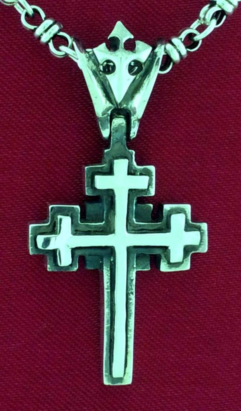 Mini Sterling Silver Celtic Cross Pendant for Men and Women  Heavy Rocker  Biker Unique Cross 3-D Design by Star Knights Jewelry USA