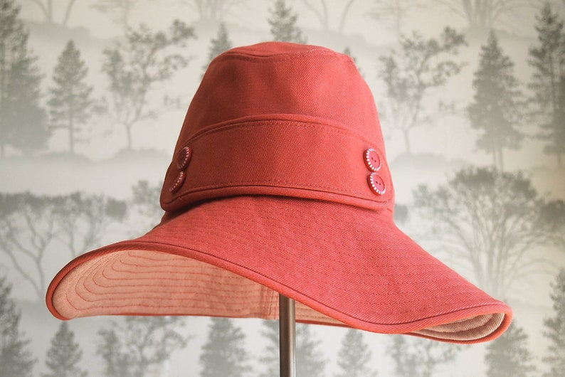 e4110da77 Red denim 100% cotton fabric floppy hat with decorative band and red and  white buttons