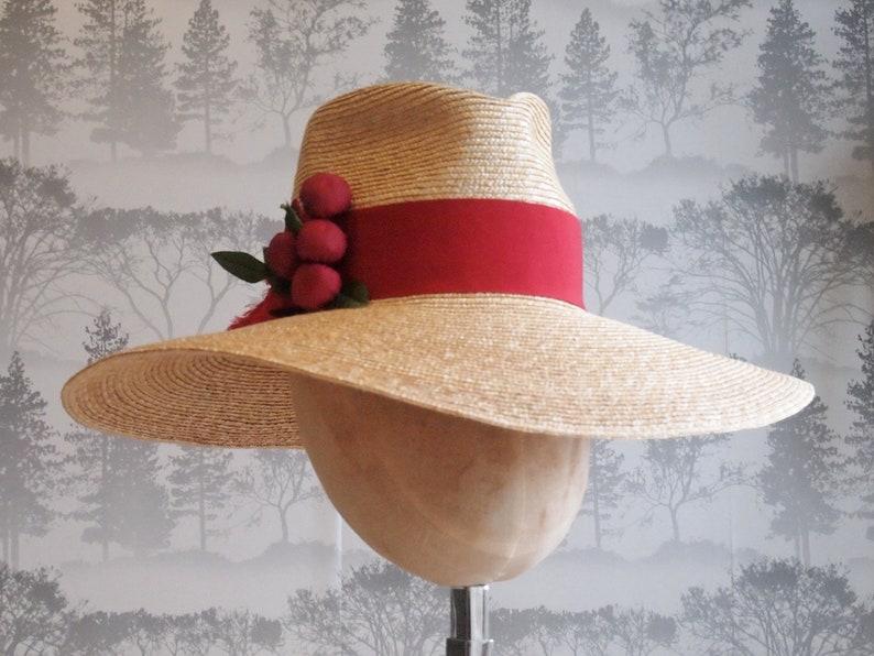 701105d77 Cherry Baby: Natural Milan Straw Braid Floppy Fedora with Vintage Silk Red  Cherries