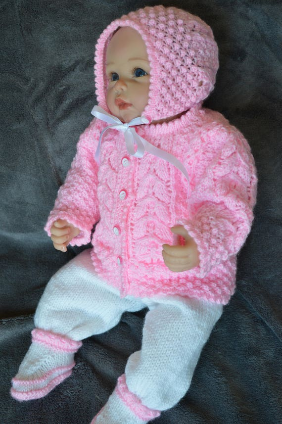 1aa534828 Baby Girl Knitted Cardigan Long Pants Bonnet and Booties Set