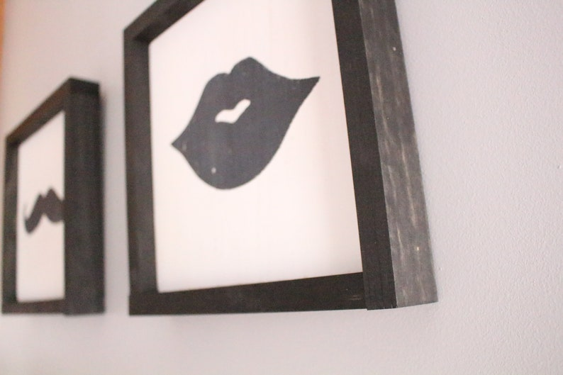 Set of 2 Mustache and Lips Wall or Shelf Decor-LipsWallShelf Decor 10.75x10.75 SALE Ready to Ship MustacheLips Wood Signs