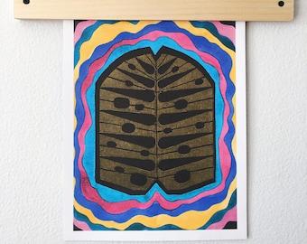 Jungle Leaf Art Print - Block Print - Watercolor Artwork