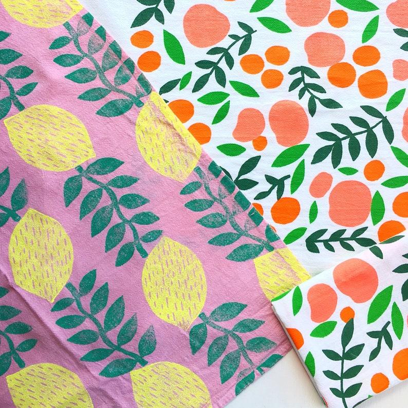 Lemon Vines Napkin Set Summer Pink and Yellow Reuseable Napkin Set Hand Printed Fruit Pattern Napkins