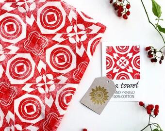 Folk Christmas Tea Towel - Hand Printed Towel - Red Christmas Towel - Holiday Towel
