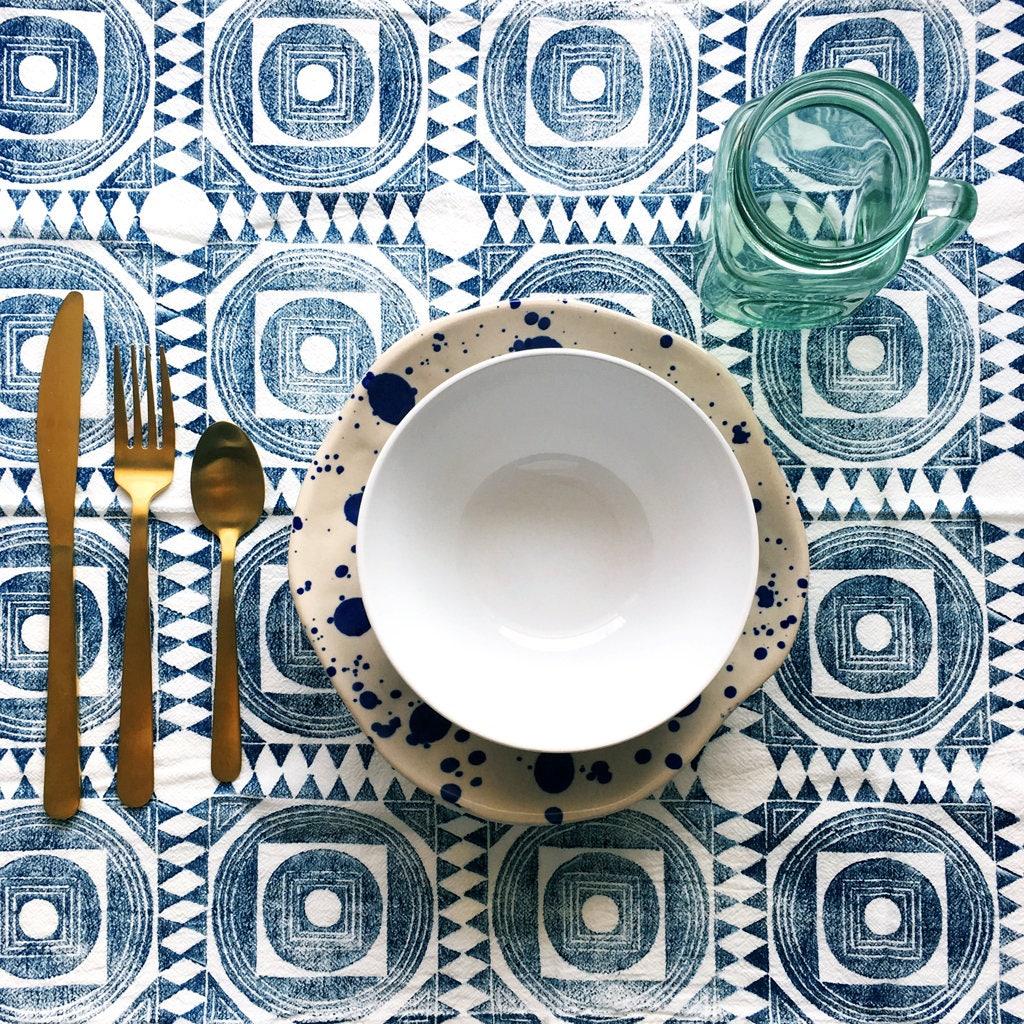 Moroccan Tile Napkin Set - Hand Printed Cloth Napkins - Geometric Pattern Reusable Napkin Set