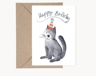 Printable birthday Card, Cat watercolor greeting card, Birthday card,Party supplies, Watercolor card, Cat theme party,Instant download card
