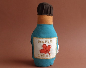 Soft Toy or Rattle Maple Syrup , 100% Natural Handprinted cotton canvas Toy, Toy Bottle, Made in Denmark