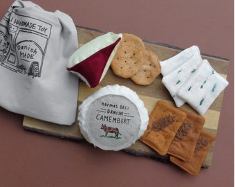 Handmade 100% Natural Cotton Canvas Cheese and Crackers Pretend play Soft Toy, Eco Friendly Kids Gift, Made in Denmark