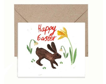Happy Easter Bunny Rabbit Digital Download Greeting Card, Water Color Instant Download, Printable Art Card