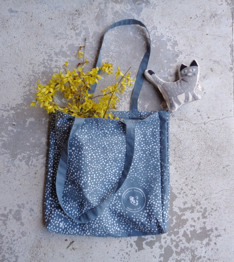 Craftsmanship Dusty Blue Polkadot Tote bag Handmade Eco Friendly Silkscreened Design