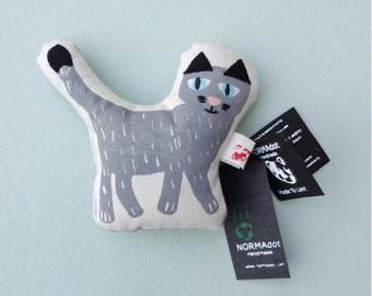 Cat Rattle Soft Toy (Final Sale. Not Eligible for Return), Silkscreen Printed Baby And Toddler Toy, Made in Denmark