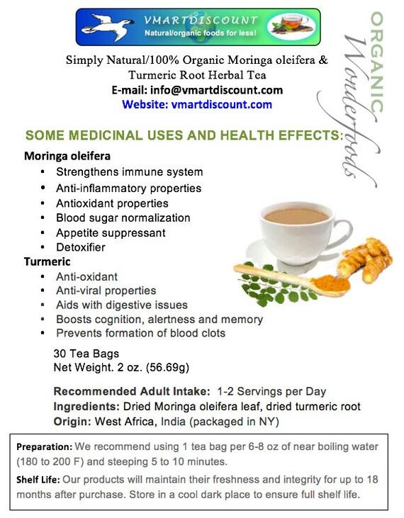 Simply Natural 100% Organic Moringa oleifera & Turmeric Root Herbal Tea (30  Tea Bags) Caffeine Free