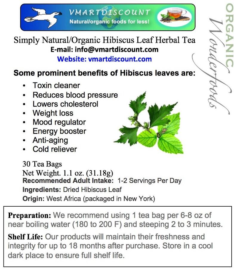 Simply Natural 100 Organic Hibiscus Leaf Herbal Tea 30 Tea Etsy