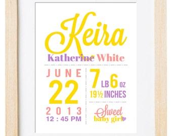 Birth Announcement Wall Art. Birth Details Print. Birth Stats Sign. Nursery Art. Nursery Decor. Customized Digital Printable. New Baby Gift.