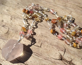 Multicolor Cherry Quartz and .925 Sterling Silver Necklace with Quartz Pendant