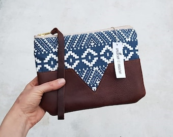 Designer cotton fabric and leather clutch purse handbag small bag wristlet leather handbag