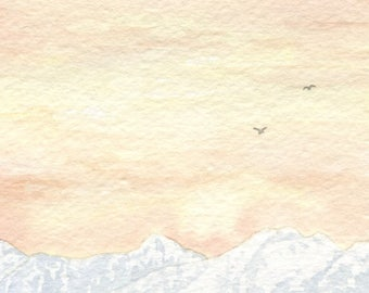 Olympic Mountain Sunset Card