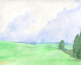 Hills and Clouds Landscape