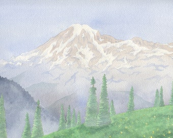 Mount Rainier Watercolor Painting (Unframed)