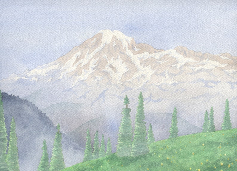 Mount Rainier Framed Watercolor Painting image 0