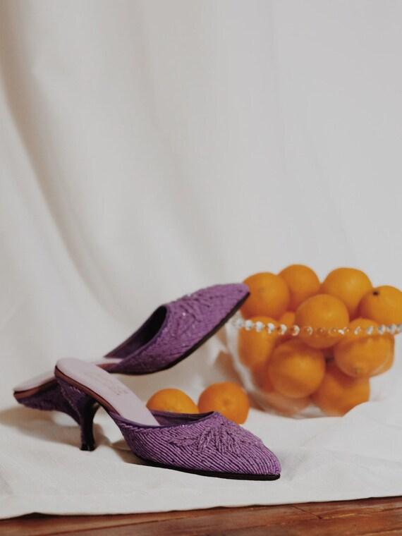 vintage lavender beaded mules - image 2