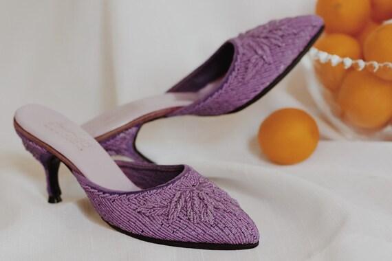 vintage lavender beaded mules - image 1