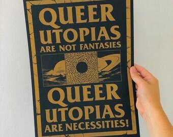 Queer Utopias A3 gold riso print