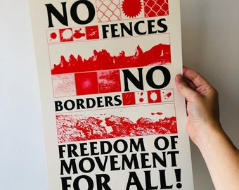 No Fences No Borders A3 riso print