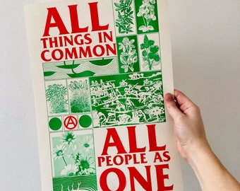 All Things In Common, All People As One A3 riso print