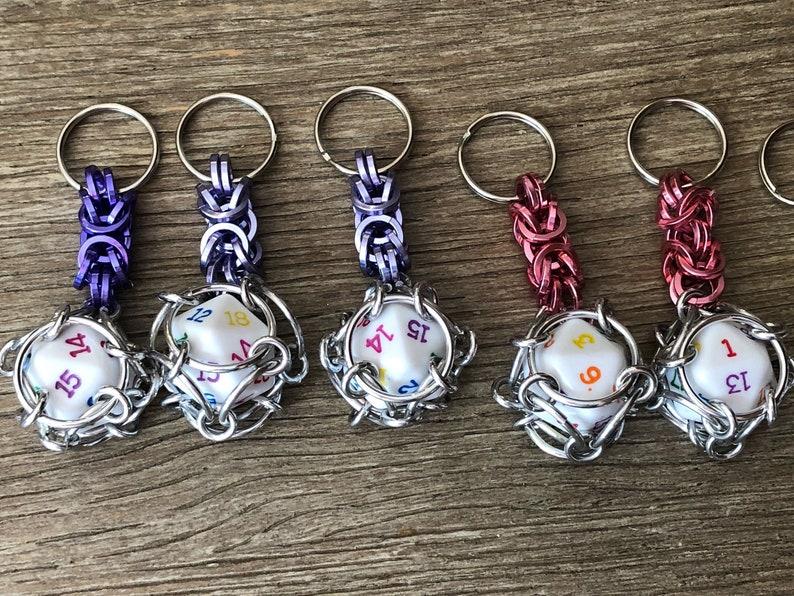 Dice Key chain Chain Key chain D20 Rainbow dice Gamer Gift Dice Key chain Chainmaille Key chain Aluminum Key chain