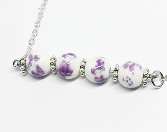 Purple and White Beaded Necklace Simple Bar Necklace Beaded Bar Necklace Dainty Delicate Boho Chic Layering Necklace