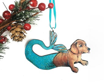 mermaid dachshund ornament dog christmas ornament laser cut wood illustrated dachshund wooden ornament gifts for dog lovers