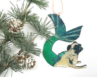 mermaid pug ornament dog christmas ornament laser cut wood illustrated pug dog ornament wooden ornament gifts for dog lovers