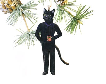 black cat ornament retro christmas ornament animal ornament stocking stuffer animal lover christmas christmas decoration wood ornament - Black Cat Christmas Tree