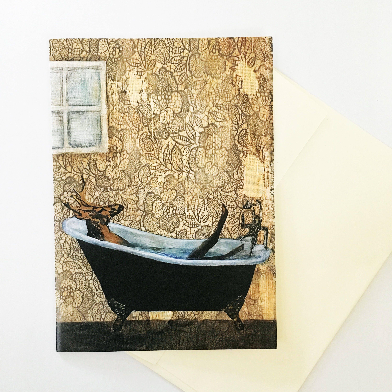Unique Deer Card Bathtub Buck Blank Greeting Card Retro | Etsy