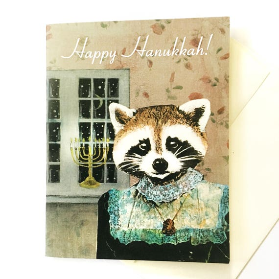 Animal Hanukkah Card or Card Set | Hanukkah Raccoon | Unique Chanukah Card | Weird Jewish Holiday Stationery Set | Fancy Animals Card