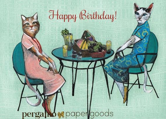 Birthday Cat Card Unique Friendship Card Retro Cat Lover Etsy
