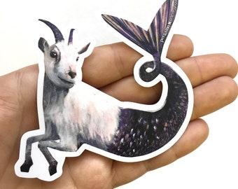 Capricorn Sticker, Goat Mermaid Sticker, Zodiac Sticker, Goat Art, Laptop Sticker, Dog Sticker, Outdoor Sticker, Goat Gifts, Weird Stickers