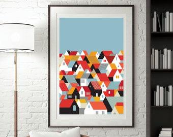 Scandinavian Folk Art, Swedish Folk Art, Minimal Decor for Living Room,  Nordic Wall art, Little Houses Digital Print, Sweden Wall Decor