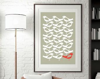 Scandinavian Birds print, Simple Norwegian art One Red Bird Print, Scandinavian primitive Hygge decor for Living room, Affiche illustration