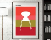 Bauhaus Poster, Arne Jacobsen Ant Chair Print, Red and Pink Poster print, Mid Century Furniture Design Poster, Unique Home decor