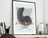 Mid Century Modern Industrial design Wall Art, Arne Jacobsen Chair Print, Bauhaus poster, Retro Furniture Digital Art, Unique Home decor