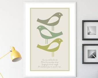 Three Little Birds Hygge Wall Art poster, Scandi Prints, Danish Modern Wall Art, Scandinavian style Hygge Home Decor, Nordic wall print Gift