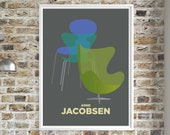 Arne Jacobsen Egg Chair Green Blue Poster, Mid Century Modern Prints, Iconic Furniture Wall Art, Interior Designer gift, Office decor