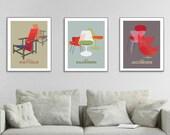 Mid Century Modern, Wall Art Triptych, Arne Jacobsen, Poster Print Set of 3, Famous Designers Art