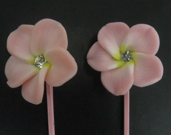 Pink Flower Bobby Pins, Flower Hair Clips, Pink Floral Hair Pins, Bobby Pin Set, Pink Hair Clip