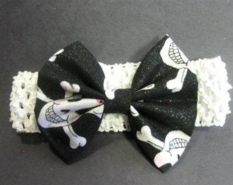 Halloween Baby Headband Toddler Bow Headband Skull and Crossbones