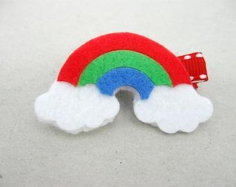 Rainbow Hair Clip, Hair Bow, Toddler Barrette, Baby Hair Clip, Rainbow Clippie, Hairclip