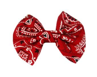 Red Bandana Hair Bows, Country Hair Bow, Fabric Hair Bow, Bandana Bow, Girls Hair Accessories, Cowgirl, Hair Clip, Hairbow