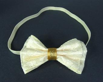 Ivory Baby Headband, Cream Hair Bow, Baby Head Band, Baby Girl Headband, Baby Hair Accessories